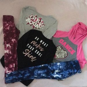 Lot of girls justice outfits shirts and pants